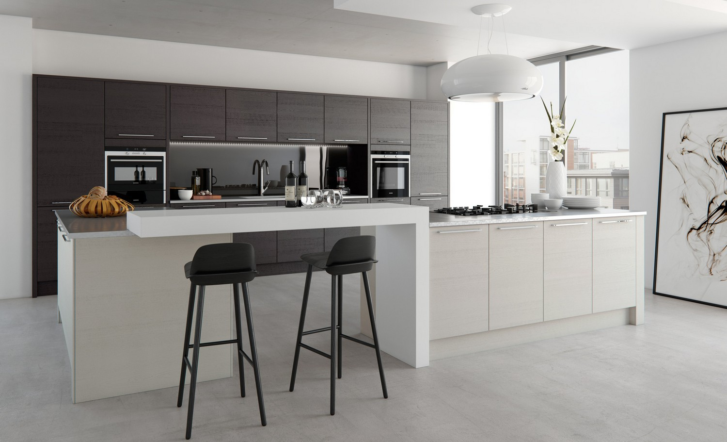 kitchen design grey colour. Stained timber slab kitchen design featuring a dark black and light grey  stain applying Modern Kitchens Liverpool Cleveland kitchens