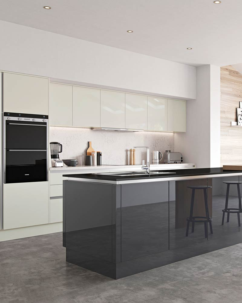 Modern gloss handle less Kitchens Liverpool, featuring two different coloured cabinets in a gloss charcoal grey and a gloss Ivory.