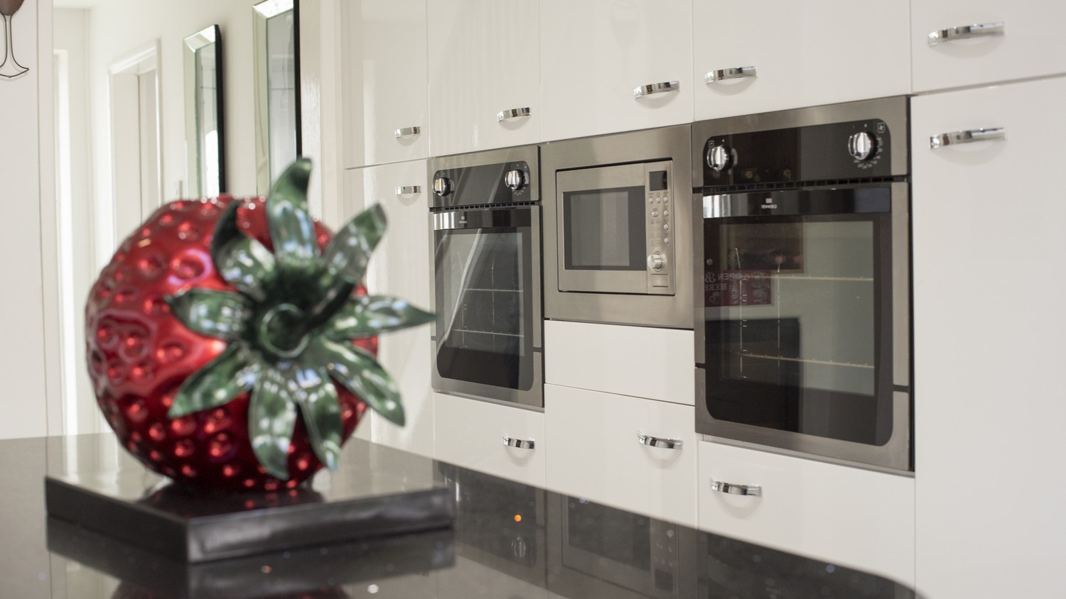 Close up of the Integrated kitchen appliances.