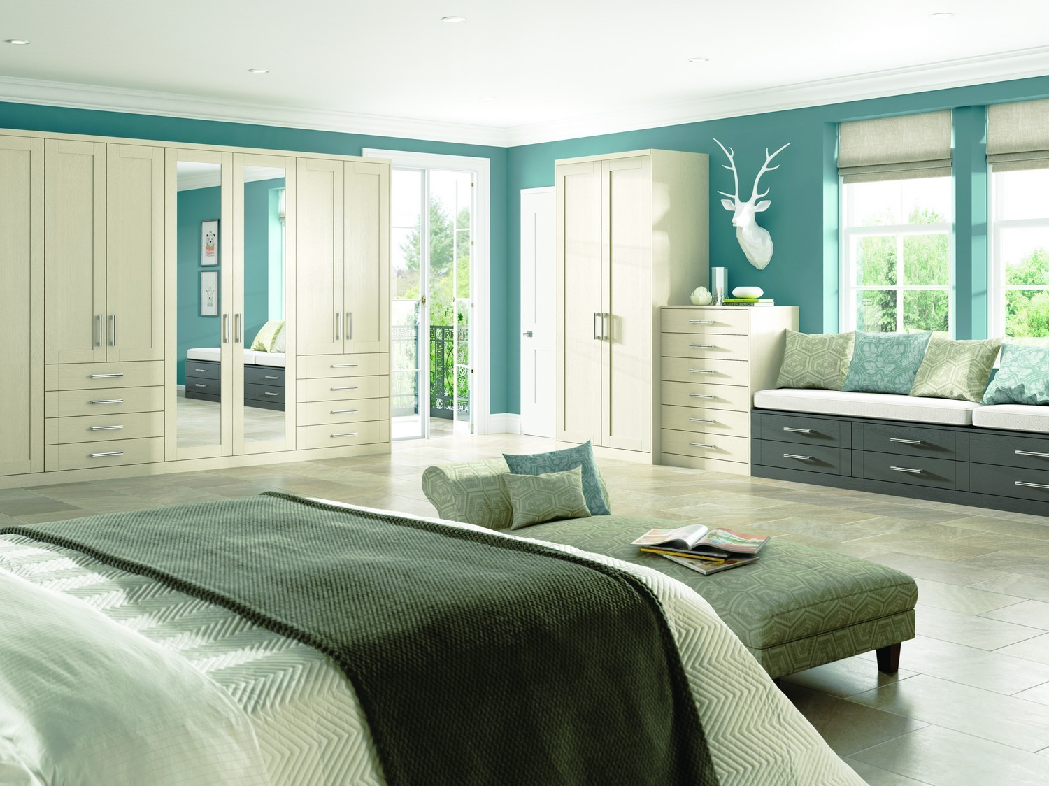 Oyster and anthracite grey bedroom furniture set with a woodgrain finish and two mirrored doors. This fitted bedroom furniture features a large seating area with more storage. The two-tone colour system gives a contemporary feel to this bedroom.