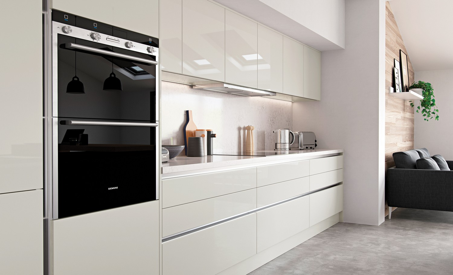 Simple sleek modern handleless porcelain kitchen featuring simple clean lines with a true handleless system. A simple worktop and back splash, integrated appliances and hidden extractor fan add to the streamline look of this system.