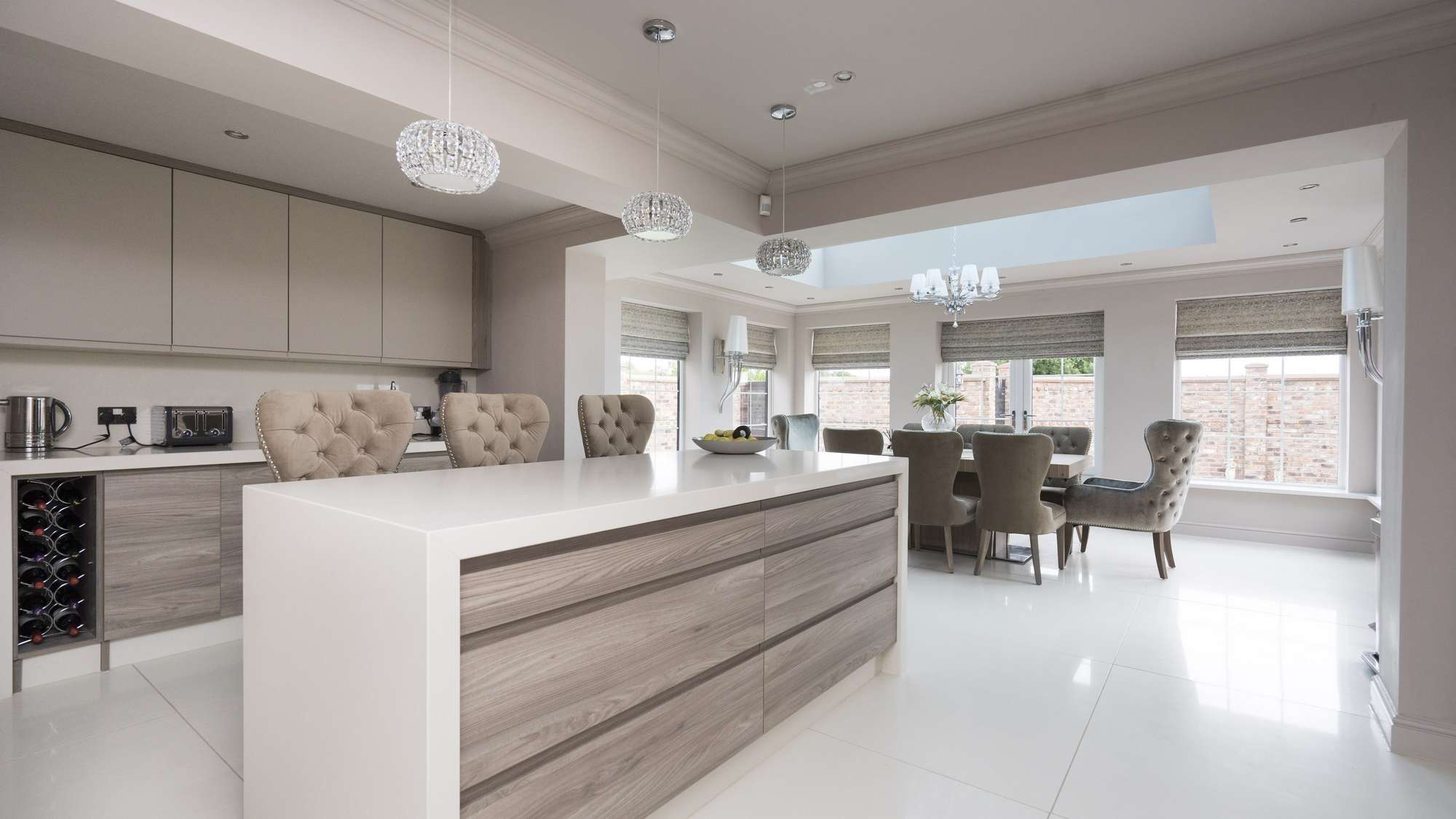 Alternative view of this kitchen showing the new extension and dining area.