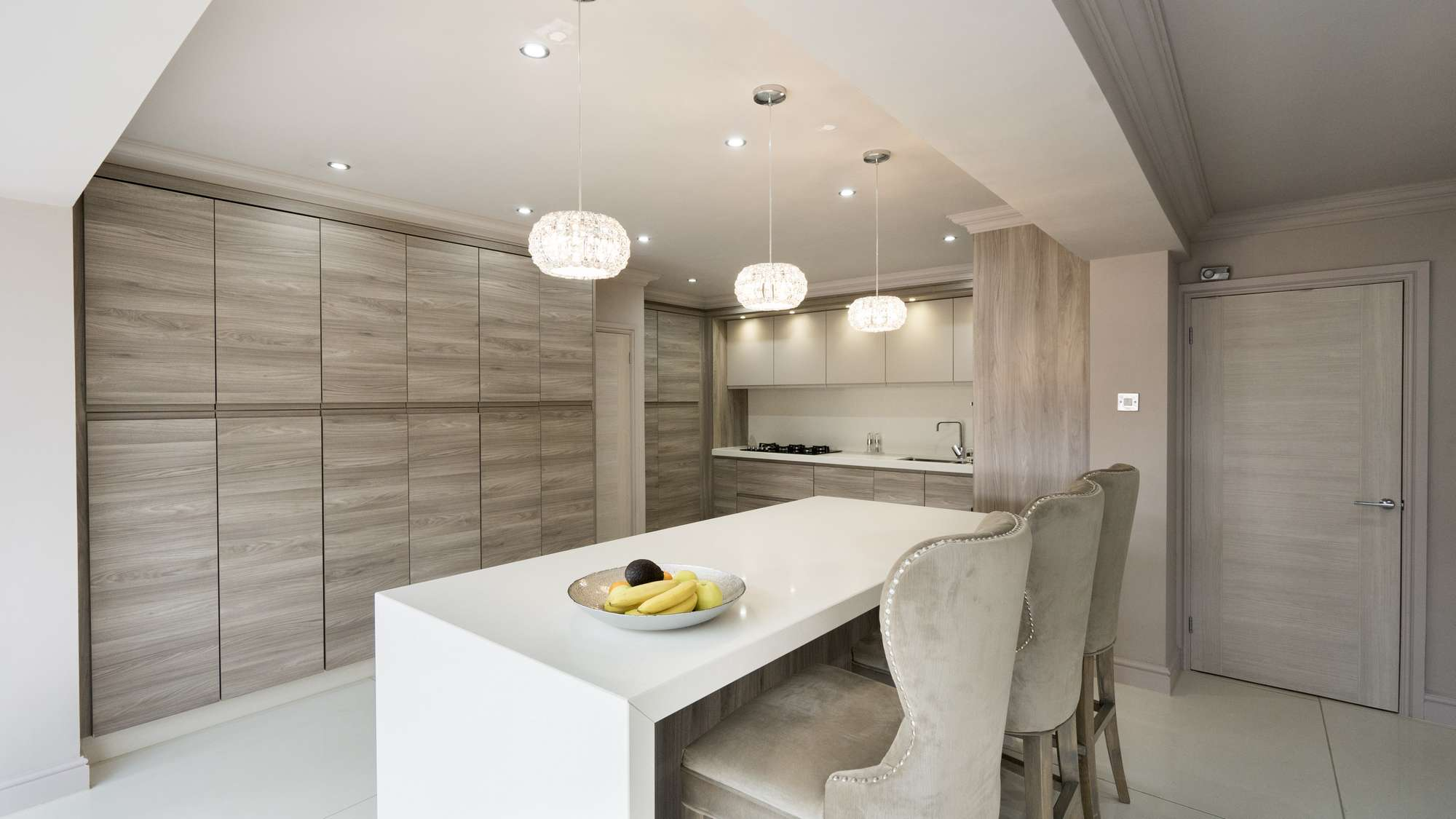 Another view of this kitchen in Liverpool showing the stunning lighting scheme and internal joinery.