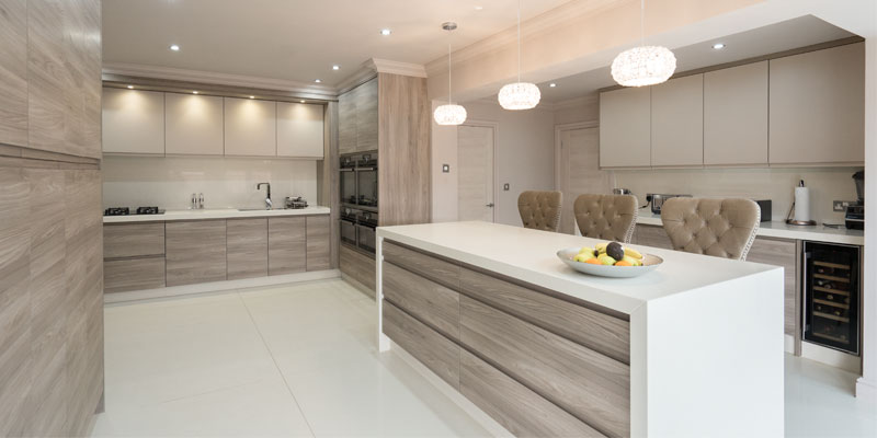 Walnut handle-less designer kitchen, Liverpool