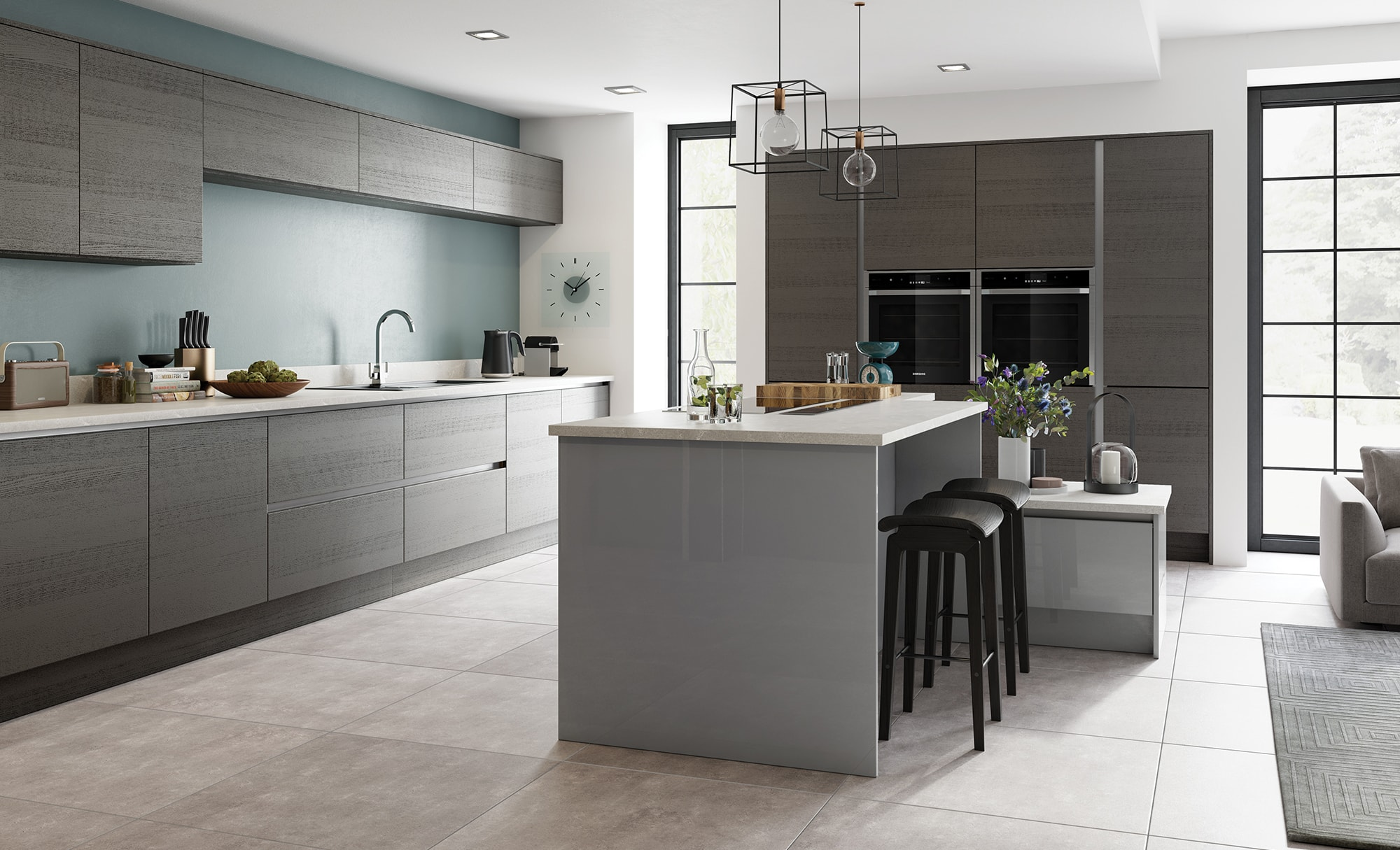 Tavola Anthracite & Zola Gloss Dust Grey, Tavola Painted & Stained is a slab door manufactured from PEFC furniture grade chipboard, over veneered on both sides and edged in 1.6mm solid wood.