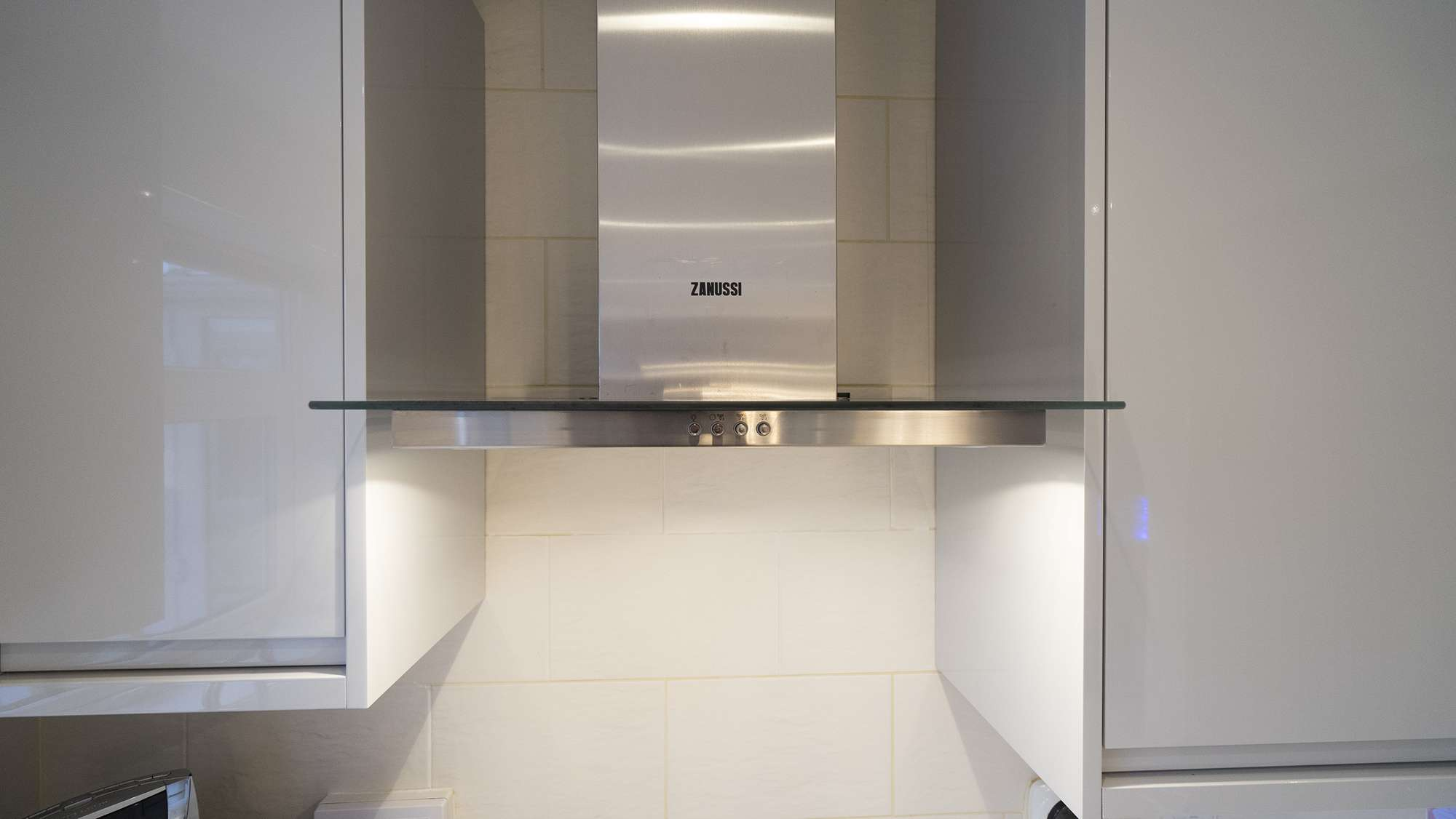 Close up of the Zanussi kitchen extractor fan.