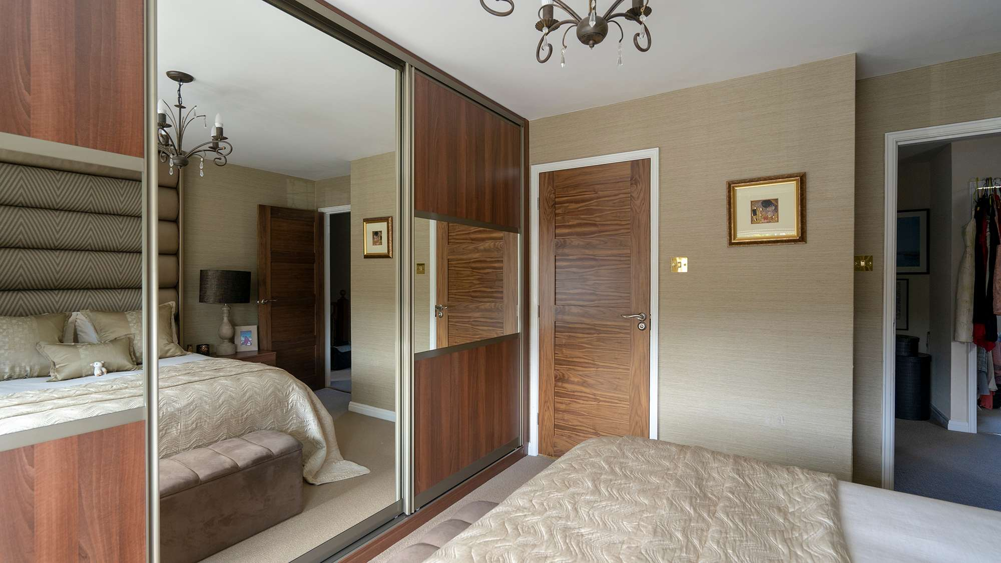 Alternative shot of our replacement sliding wardrobe doors, rails and surrounding hardware.